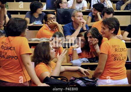 Students of the faculty of Phisics. Public University 'La Sapienza'. Rome Italy. - Stock Photo
