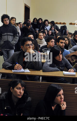 Students of the department of Literature and Philosophy, Public University 'La Sapienza'. Rome Italy. - Stock Photo