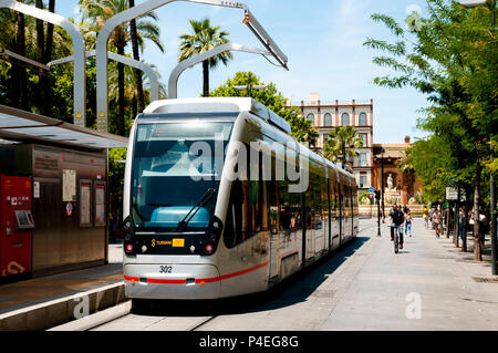 SEVILLE, SPAIN - June 1, 2016: MetroCentro is a public tram serving the centre of the city Seville - Stock Photo