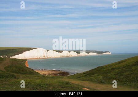 A view of the Seven Sisters, from Cuckmere Haven, East Sussex. - Stock Photo