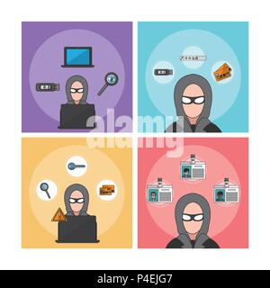 Set of hacker icons - Stock Photo