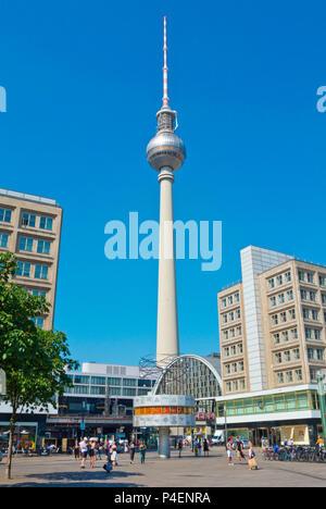 Fernsehturm, tv tower, and world clock, Alexanderplatz, Berlin, Germany - Stock Photo