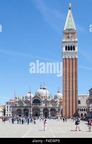 Piazza San Marco, Basilica San Marco and Campanile, Venice,  Veneto, Italy, St Marks Square, St Marks Basilica, bell tower, belltower, cathedral - Stock Photo