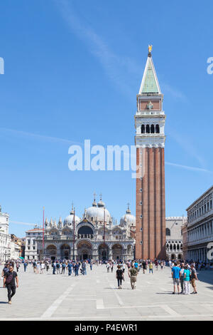 Piazza San Marco, Basilica San Marco and Campanile, Venice,  Veneto, Italy, St Marks Square, St Marks Basilica, bell tower, belltower, cathedral. peop - Stock Photo