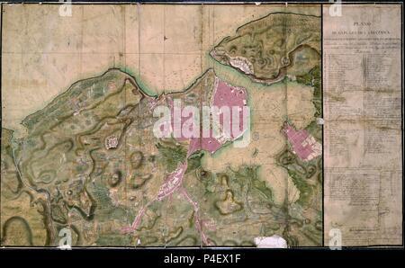 PLANO DE LA PLAZA DE LA HABANA SU PUERTO FUERTES Y SUBURBIOS - 1817. Author: TORRE ANTONIO MARIA DE LA. Location: ARCHIVO HISTORICO MILITAR, MADRID, SPAIN. - Stock Photo