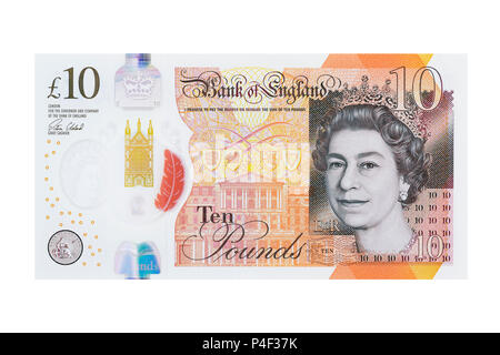 New Ten Pound Note, UK, Cut Out - Stock Photo