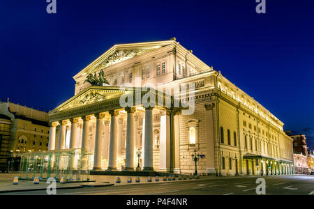 Bolshoi Theatre in Moscow by night - Russia - Stock Photo