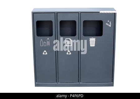 Recycle and garbage bins for collection of different materials.  Trash bin for recycle material isolated on white. - Stock Photo