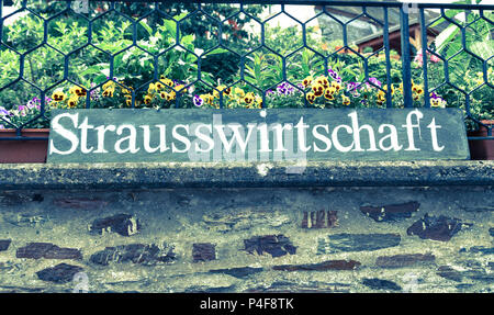 Strausswirtschaft sign on the Mosel Germany. - Stock Photo