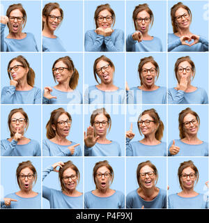 Middle age woman, diferent emotions collage over blue background - Stock Photo