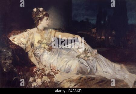 'Charlotte Wolter as Messalina', 1875, oil on canvas, 143 x 227 cm. Author: Hans Makart (1840-1884). Location: KUNSTHISTORISCHES MUSEUM / MUSEO DE BELLAS ARTES, WIEN. - Stock Photo
