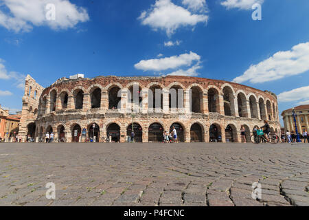 Verona, Italy – May 26, 2017: Outside view of Verona Arena from Piazza Bra, an ancient roman amphitheatre (Arena di Verona) - Stock Photo