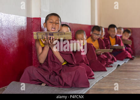 Gangtok, India - May 3, 2017: Lesson for novice monks in buddhist Tsuglakhang monastery in Gangtok, India - Stock Photo