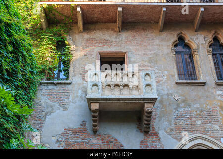 Balcony at Juliet's house is a major landmark and tourist attraction in Verona, Italy - Stock Photo
