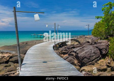 Wooden pier on the Koh Kood island, Thailand - Stock Photo