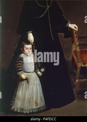 'Antonia de Ipeñarrieta y Galdós and her son, Luis' (detail), ca. 1632, Oil on canvas, P01196. Author: Diego Velázquez (1599-1660). Location: MUSEO DEL PRADO-PINTURA, MADRID, SPAIN. - Stock Photo