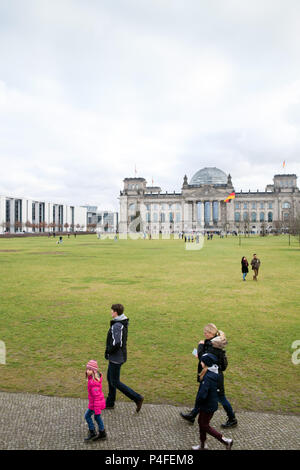 Berlin, Germany, Reichstag and Republic Square in Berlin-Tiergarten - Stock Photo