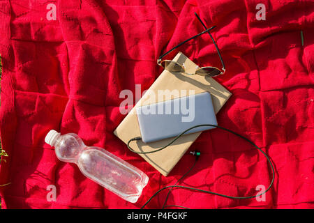 Plaid in the park - bottle of water, book, phone with headphones, sunglasses. Relax in the city park - Stock Photo