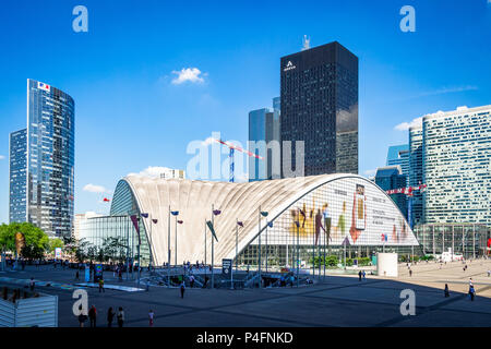 The strange yet wonderful La Defense area in Paris, France that houses an open-air museum. - Stock Photo