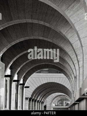 Tel Aviv, Israel - APRIL 28, 2018: Contemporary Architecture: Archway Arcade Modern building,architecture photography in black and white. - Stock Photo