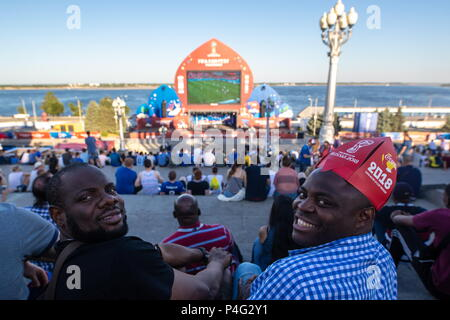 Volgograd, Russia. 21st June, 2018. VOLGOGRAD, RUSSIA - JUNE 21, 2018: Fans at the 2018 FIFA World Cup Fan Fest site. Sergei Bobylev/TASS Credit: ITAR-TASS News Agency/Alamy Live News - Stock Photo
