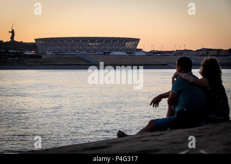 Volgograd, Russia. 21st June, 2018. VOLGOGRAD, RUSSIA - JUNE 21, 2018: A view of Volgograd Arena Stadium, a venue of the 2018 FIFA World Cup in Russia. Sergei Bobylev/TASS Credit: ITAR-TASS News Agency/Alamy Live News - Stock Photo