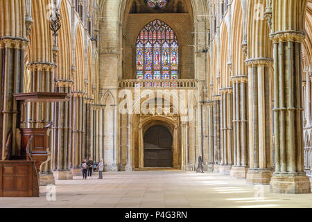 Lincoln, England. 21 June 2018. Lincoln cathedral nave is cleared on 21 st June 2018 of lighting, chairs and artwork in preparation for the filming of 'The King', produced by Brad Pitt. Credit: Michael Foley/Alamy Live News - Stock Photo