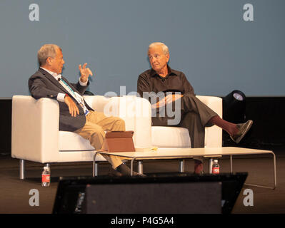 Cannes, France, 22 June 2018, Spieker Sir Martin Sorell in conversation with Ken Auletta, Writer, Author - The New Yorker, at Cannes Lions Festival - International Festival of Creativity © ifnm / Alamy Live News - Stock Photo