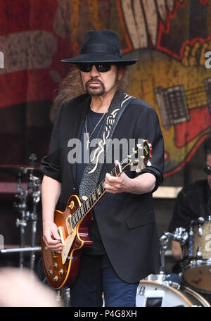 New York, NY, USA. 21st June, 2018. Gary Rossington of Lynyrd Skynyrd performs during 'FOX & Friends' All American Concert Series at FOX Studios on June 21, 2018 in New York City. Credit: John Palmer/Media Punch/Alamy Live News - Stock Photo