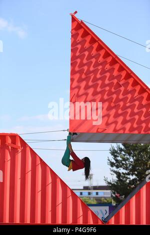 Birmingham, UK. 22nd June, 2018.  Inspired by the ancient art of Japanese paper folding, Origami turns a 40 foot shipping container into a shape shifting performance space. The performance, by Satchio Moro and Silvain Ohl, is part of Birmingham International Dance Festival. Peter Lopeman/ Alamy Live News - Stock Photo