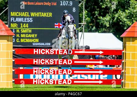 Hickstead, West Sussex, UK. 22nd June 2018. Michael Whitaker riding Flawless. GBR. The Bunn Leisure Derby Trial. CSI4*. The Al Shira'aa Hickstead Derby Meeting. Showjumping. The All England Jumping Course. Hickstead. West Sussex. UK. Day 3. 22/06/2018. Credit: Sport In Pictures/Alamy Live News - Stock Photo