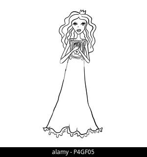 Cute princess dreams about charming prince. Simple black and white art for coloring book. Vector illustration. - Stock Photo