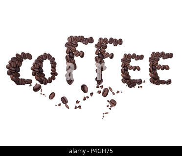 word coffee made from coffee beans isolated on White background - Stock Photo