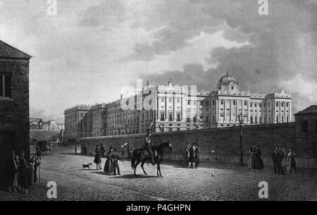 VISTA DEL PALACIO REAL POR EL LADO DE LA CALLE NUEVA - GRABADO SIGLO XIX. Author: Fernando Brambila (1763-1832). Location: MUSEO ROMANTICO-GRABADO, SPAIN. - Stock Photo