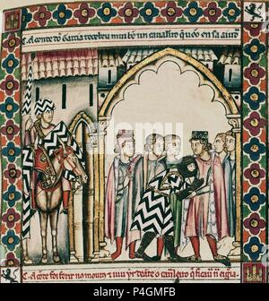 MTI1-CANTIGA DE SANTA MARIA Nº63 - F92R - LA VIRGEN SALVA A UN CABALLERO EN LA BATALLA DE SAN ESTEBAN DE GORMAZ - 1ª VIÑETA DE LA 1ª FILA-Cj 18938. Author: Alfonso X of Castile the Wise (1221-1284). Location: MONASTERIO-BIBLIOTECA-COLECCION, SAN LORENZO DEL ESCORIAL, MADRID, SPAIN. - Stock Photo