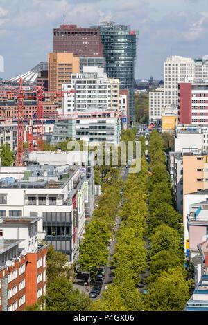 Berlin, Germany, residential building in the Stresemannstrasse in Berlin-Kreuzberg, in the background the Hochhaeuser on Potsdamer Platz - Stock Photo