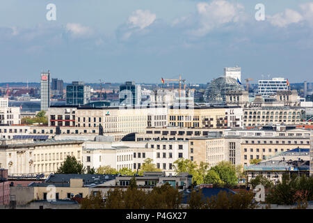 Berlin, Germany, buildings in Kreuzberg and Mitte, in the background the main station and the Reichstag dome - Stock Photo