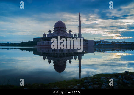 The Putra Mosque located in Putrajaya, Malaysia. - Stock Photo