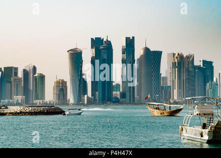 Doha city view from the harbor - Stock Photo