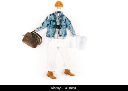 stylish clothes with hat and eyeglasses, camera and map isolated on white - Stock Photo