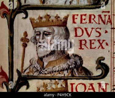 GENEALOGIA DE LOS REYES DE ESPAÑA - FERNANDO DE PORTUGAL 1367/1383. Author: Alonso de Cartagena (1385-1456). Location: BIBLIOTECA NACIONAL-COLECCION, MADRID, SPAIN. - Stock Photo