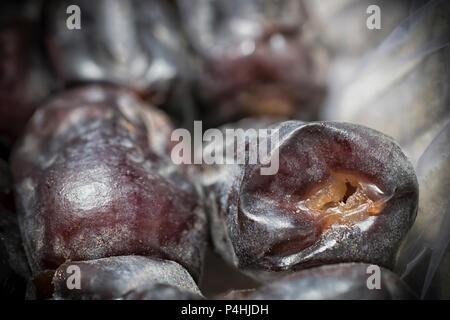 A macro shot of fresh dates - Stock Photo