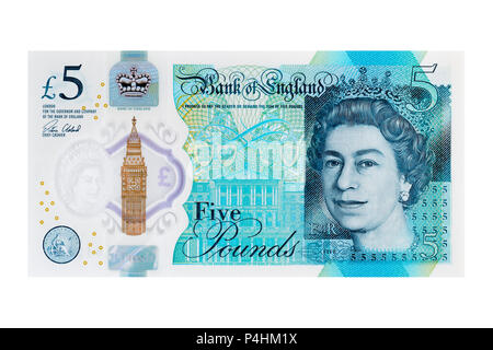New Five Pound Note, UK, Cut Out - Stock Photo