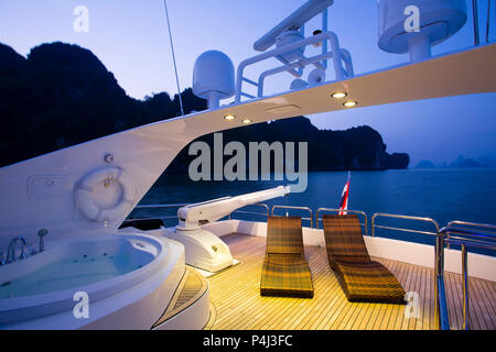 View of Phang Nga Bay from a luxury yacht. Phang Nga Bay is near Phuket Island in Thailand. - Stock Photo