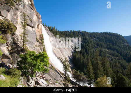 Nevada Falls on the Mist Trail / John Muir Trail in Yosemite National Park in California United States - Stock Photo