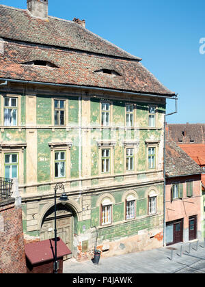 Old houses in Sibiu old town, Romania - Stock Photo