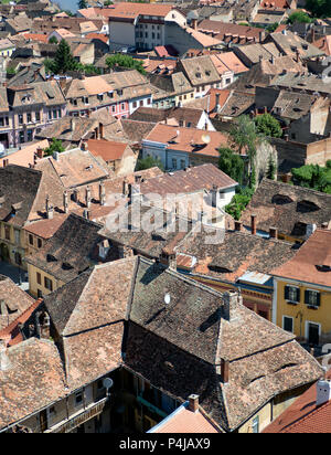 Rooftops of Sibiu old town, Romania - Stock Photo