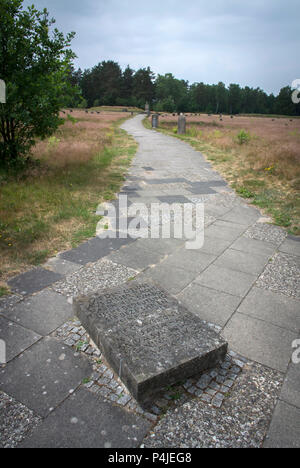 The memorial grounds of Bergen-Belsen concentration camp.. - Stock Photo