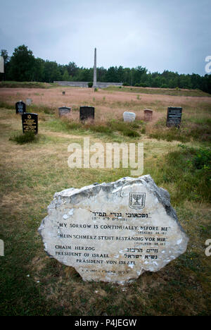 Graves in the memorial grounds of Bergen-Belsen concentration camp.. - Stock Photo