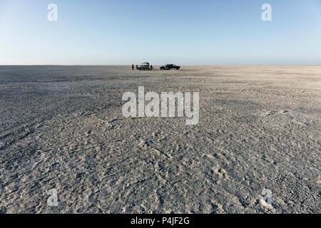 Campsite on Sua pan. scenic large flat area of salt pan desert, Makgadikgadi Botswana - Stock Photo